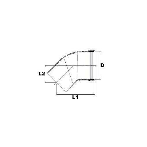 Brilon 45°-os könyök szimplafalú kéményrendszerhez 80 mm