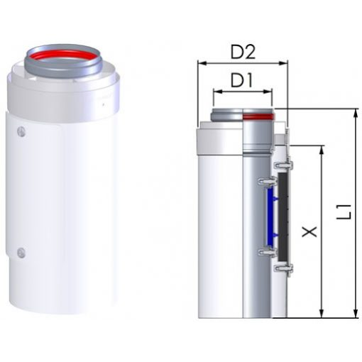 Tricox toldócső 500 mm kondenzációs gázkéményhez PPs/Alu 80/125