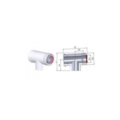 Tricox ellenőrző T-idom kondenzációs gázkéményhez PPs/Alu 60/100