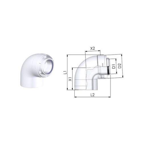 Tricox 90°-os könyök kondenzációs gázkéményhez PPs/Alu 60/100