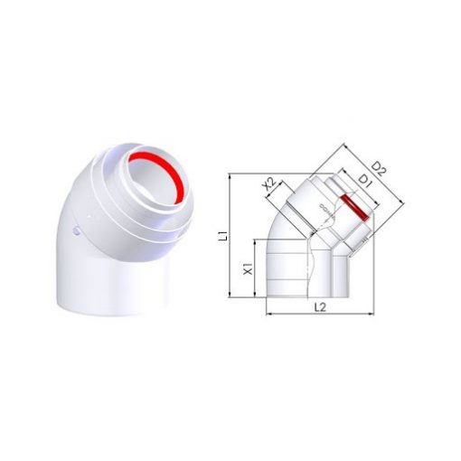 Tricox 45°-os könyök kondenzációs gázkéményjez PPs/Alu 80/125 (2 db/doboz)